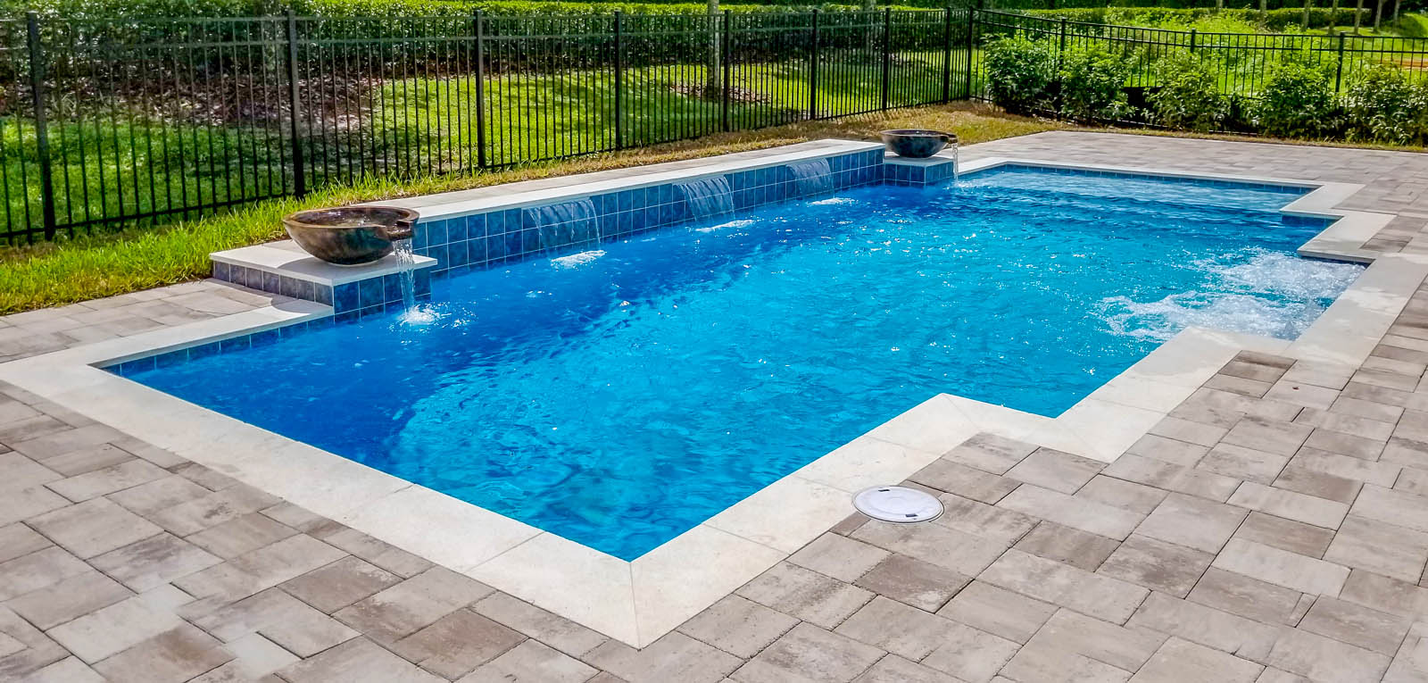 Modified Rectangular Pool with Water Bowls