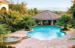 free form inground pool with laminar jets and a pavillion. Separate spa with water feature