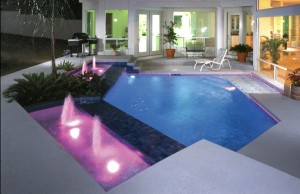 geometric pool with bubblers and LED colored lights