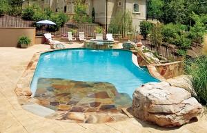 Zero beach entry swimming pool with vanishing edge and spa