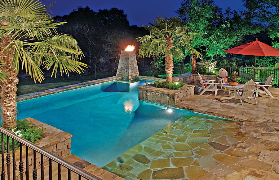 Zero beach entries blue haven custom swimming pool and for Affordable pools virginia beach