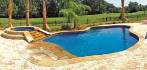 Custom swimming pool spa builders Beach entry swimming pool designs