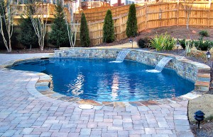 Two cascade waterfall pool feature
