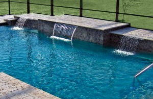 Three cascade waterfall pool features