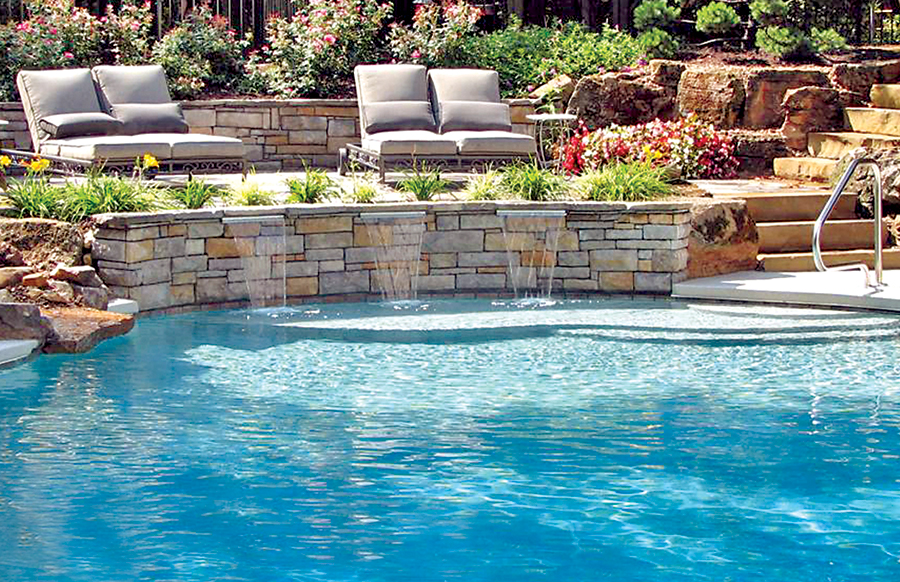 Cascade waterfalls blue haven custom swimming pool and for Blue water parts piscine