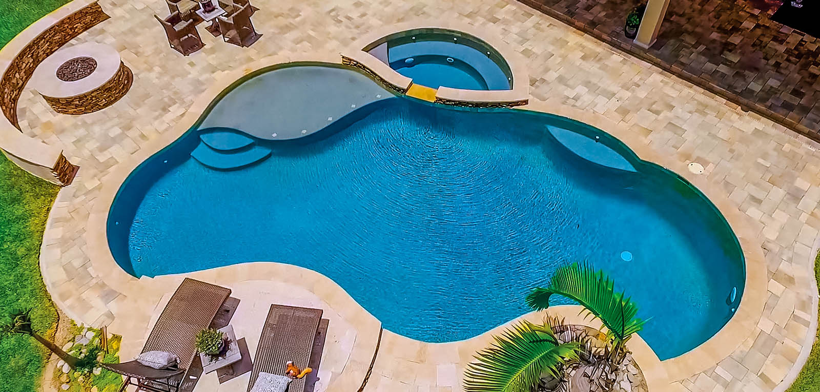Free form inground pool and spa