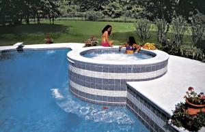 Gunite spa with cascade waterfall