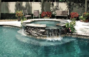 Gunite spa with cascade waterfalls
