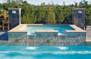 Gunite spa with cascade waterfal