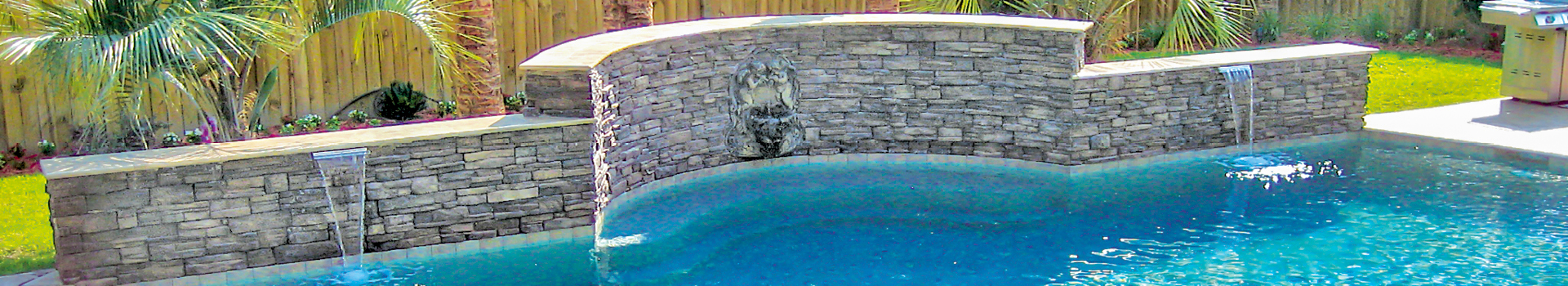 Gunite Swimming Pool With Cascade Water Features