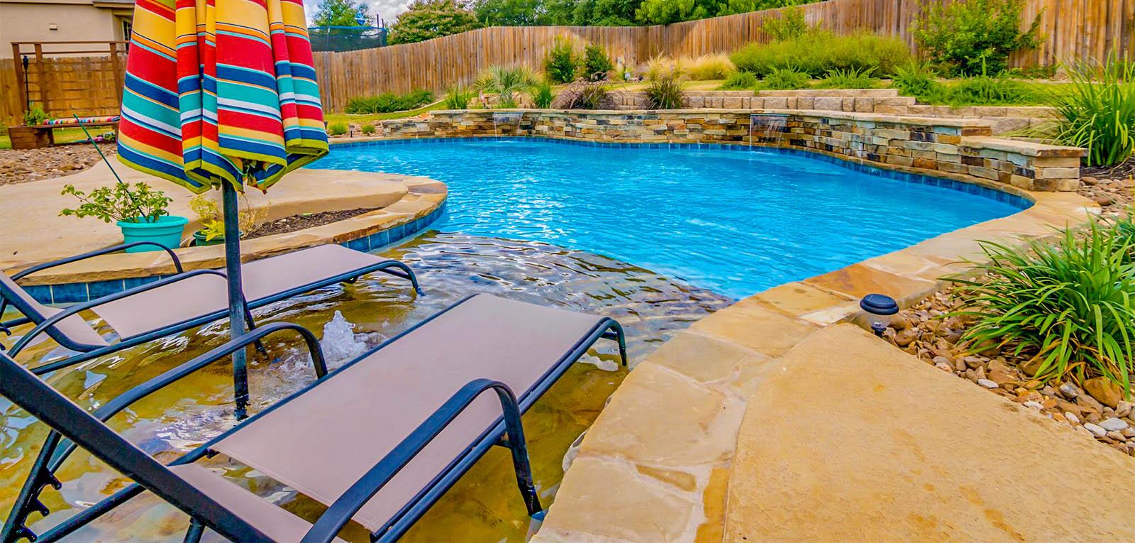 Tanning ledge on inground pool
