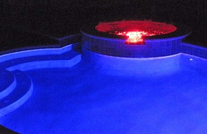 Swimming pool and spa with color changing lights