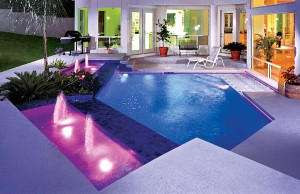 Swimming pool with color changing lights