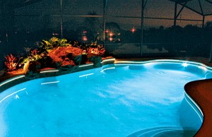 Swimming pool with color changing lights and LEDs