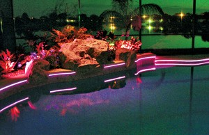 Swimming pool with color changing LEDs