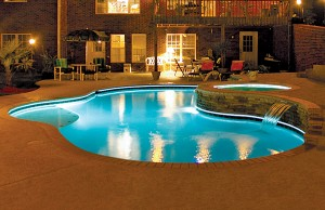 Swimming pool and spa with LED lights
