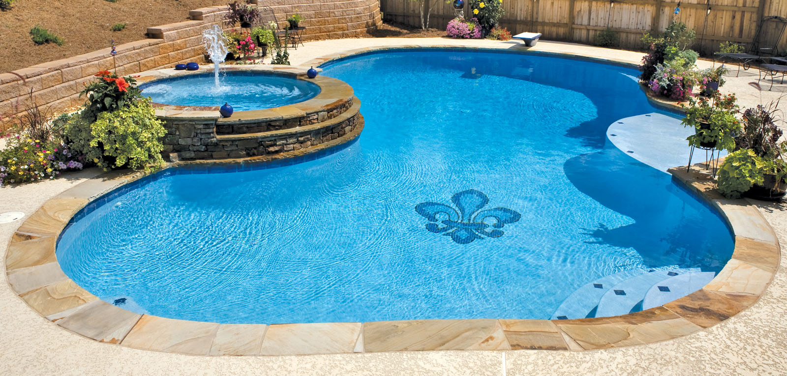 Pool mosaics blue haven custom swimming pool and spa for Affordable pools and supplies