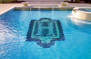 Swimming pool with large mosaic