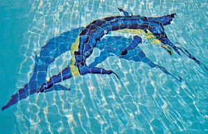 Swimming pool with marlin mosaic