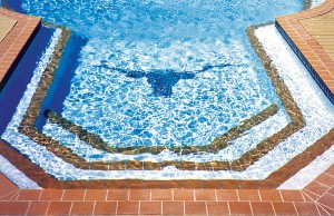 Swimming pool with Texas Longhorn mosaic