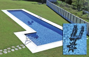 Swimming pool with San Antonio Spurs mosaic