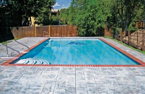 Swimming pool with tile mosaic