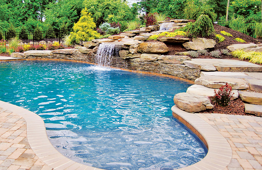 Rock waterfall pool photos blue haven pools for Pool photos