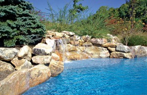 Swimming pool with rock waterfall and tanning ledge