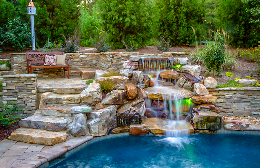 inground pools with waterfalls swimming pool rock waterfall pictures blue 6534