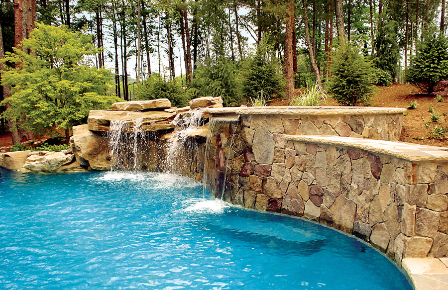 inground pools with waterfalls swimming pool rock waterfall pictures blue 9716