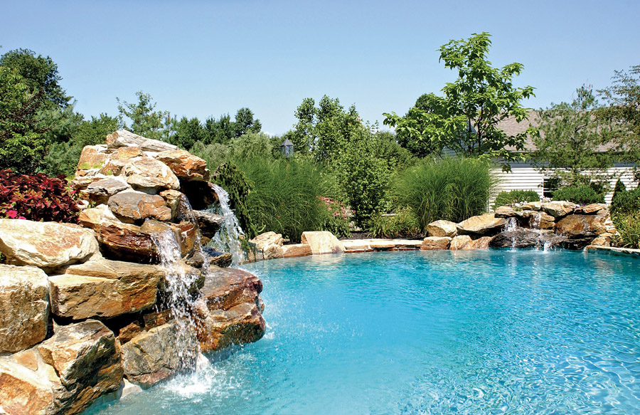 inground pools with waterfalls swimming pool rock waterfall pictures blue 819