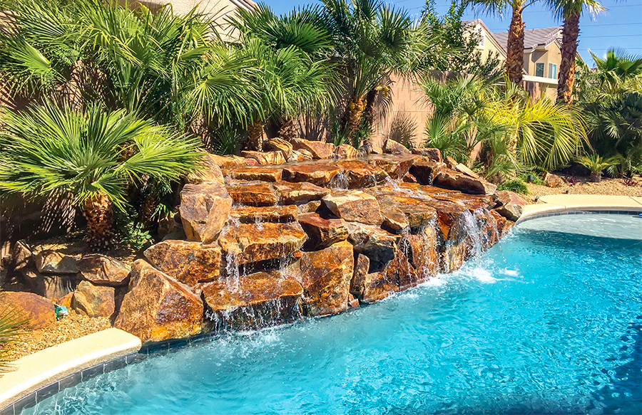 inground pools with waterfalls swimming pool rock waterfall pictures blue 7545
