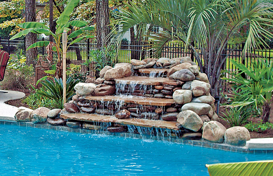 inground pools with waterfalls swimming pool rock waterfall pictures blue 5685