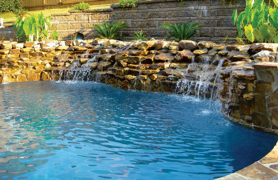 inground pools with waterfalls swimming pool rock waterfall pictures blue 1227
