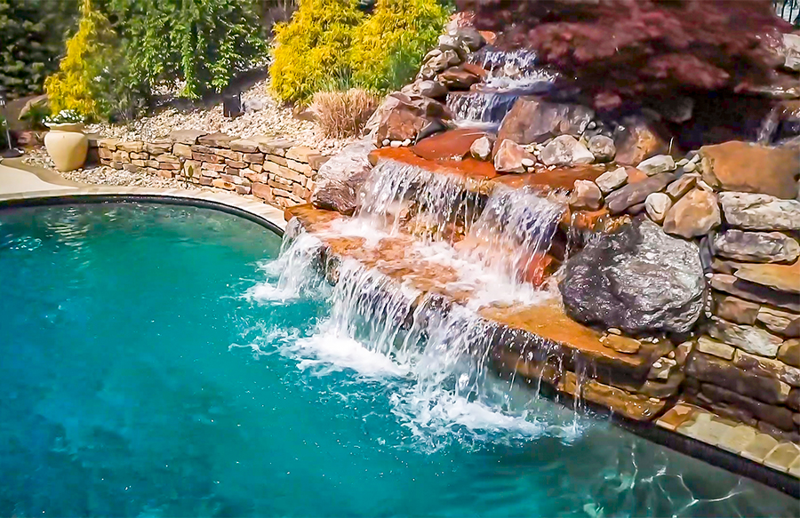 inground pools with waterfalls swimming pool rock waterfall pictures blue 8734