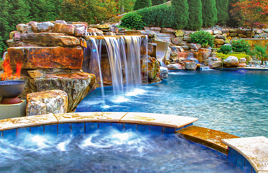 inground pools with waterfalls swimming pool rock waterfall pictures blue 8403