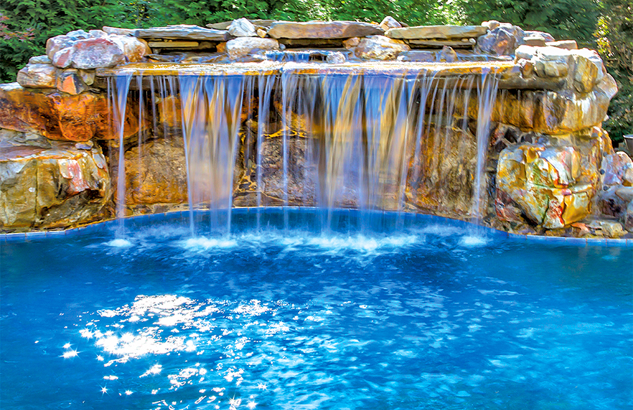 inground pools with waterfalls swimming pool rock waterfall pictures blue 9516