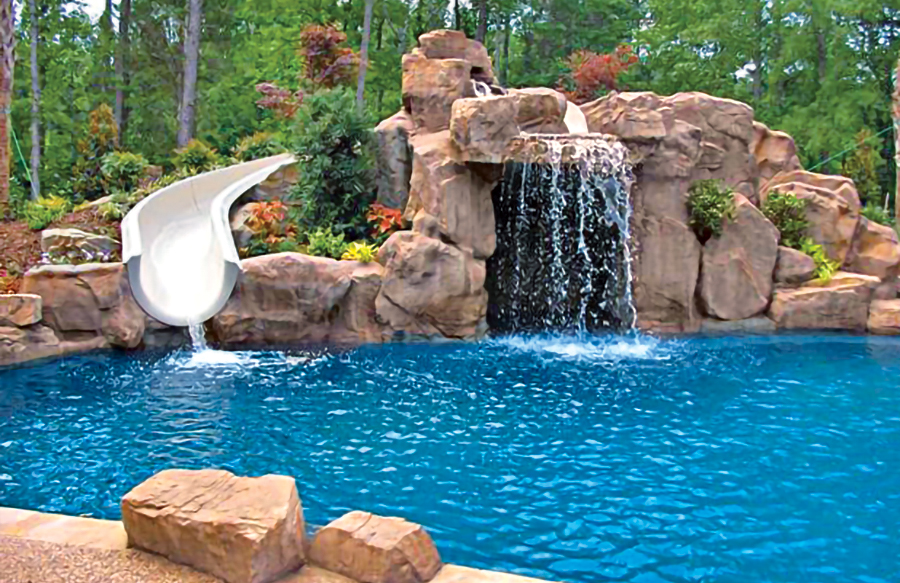 Swimming Pool Rock Slides Photos Blue Haven Pools