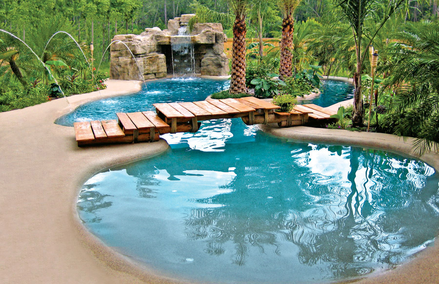 Beautiful ... Free Form Swimming Pool With Bridge And Grotto ...