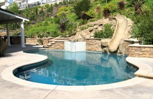 Free form swimming pool with rock waterslide