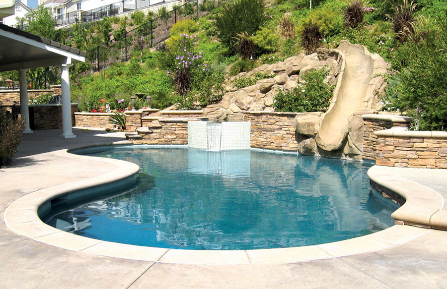... Free Form Swimming Pool With Rock Waterslide ...