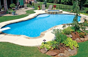 Free form swimming pool with diving board and spa