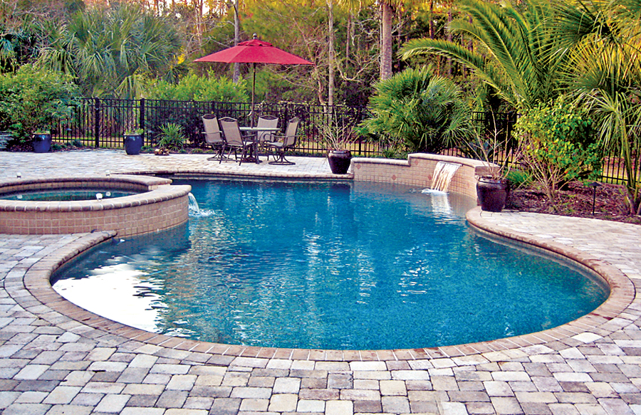 Free form pools blue haven custom swimming pool and spa for Affordable pools and supplies