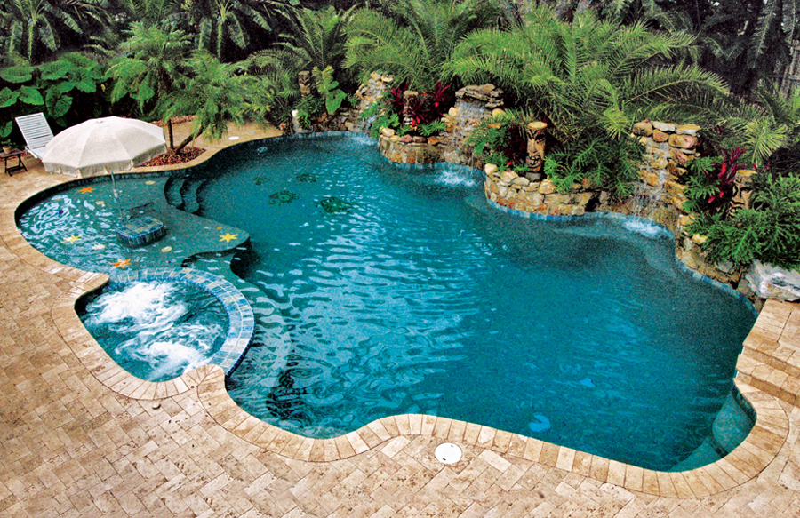 Free form pool photos blue haven pools for Pool design free