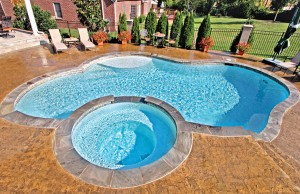 Free form swimming pool with spa