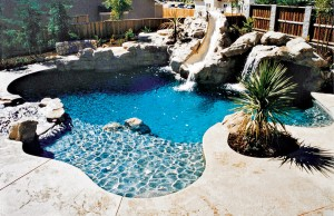 Free form swimming pool with tanning ledge and rock waterslide