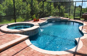 Free form pool with spa and cascade waterfall