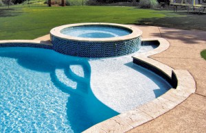 Swimming pool with lounge tanning ledge and spa