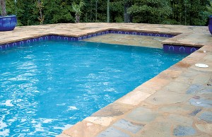 Swimming pool with lounge tanning ledge