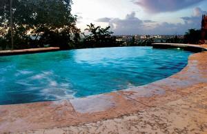 vanishing edge pool at dawn